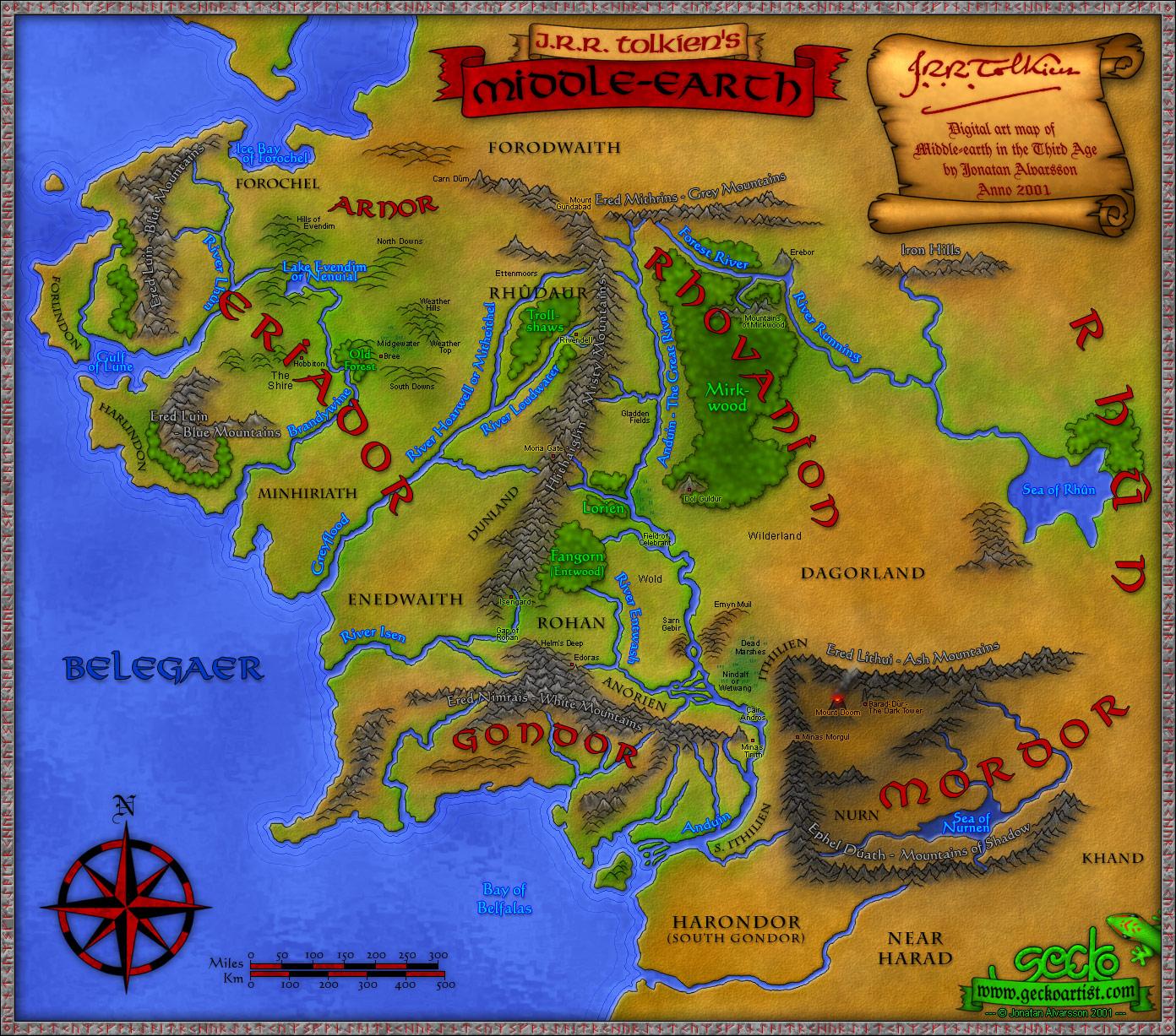 Mittelerde Karte Herr Der Ringe.Karten Von Tolkiens Mittelerde Faszination Tolkien
