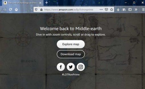 Screenshot: Mittelerde-Karte auf Amazon